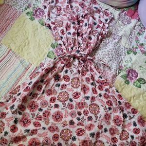Red and white floral vintage style dress